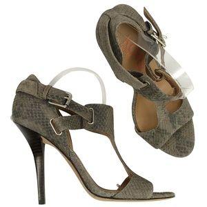 Michael Kors T Straps Heels Sandals Grey Snakeskin